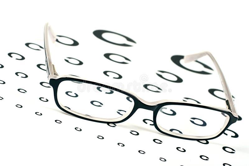 Exponeringsglas på ett diagram för ögonsightprov royaltyfri foto