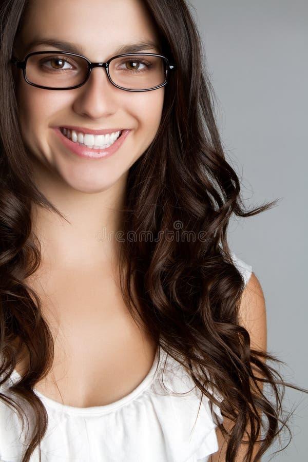 exponeringsglas som ler kvinnan royaltyfria bilder