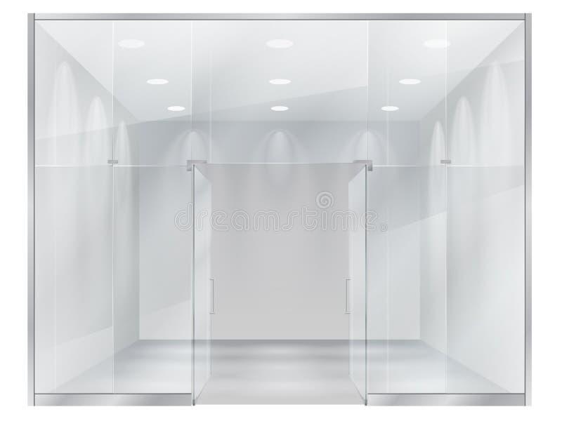 Exponeringsglas ställer ut av boutique royaltyfri illustrationer