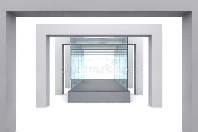 Exponeringsglas ställer ut i grå lokal med kolonner vektor illustrationer
