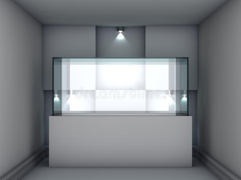 Exponeringsglas ställer ut och niche med strålkastarear stock illustrationer