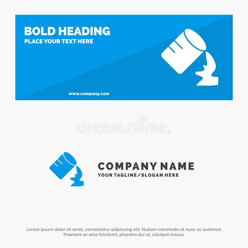 Exponeringsglas, vatten, fuktigt fast symbolsWebsitebaner och affär Logo Template stock illustrationer