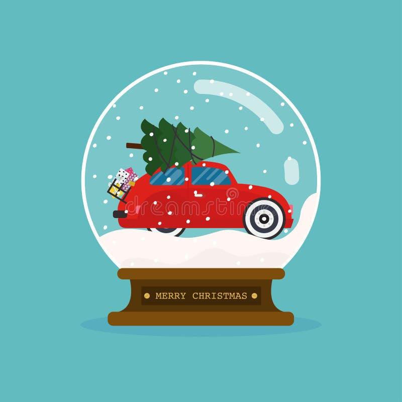 Exponeringsglasboll för glad jul med bilen och julträdet Plan des royaltyfri illustrationer