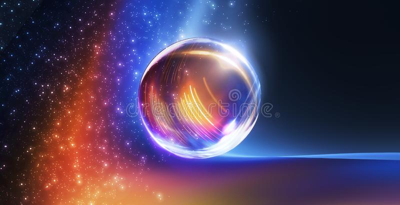 Exponeringsglasboll, reflexion av neonljus, str?lar, ilsken blick abstrakt bakgrundsneon Ljusen av nattstaden Magisk exponeringsg arkivfoto