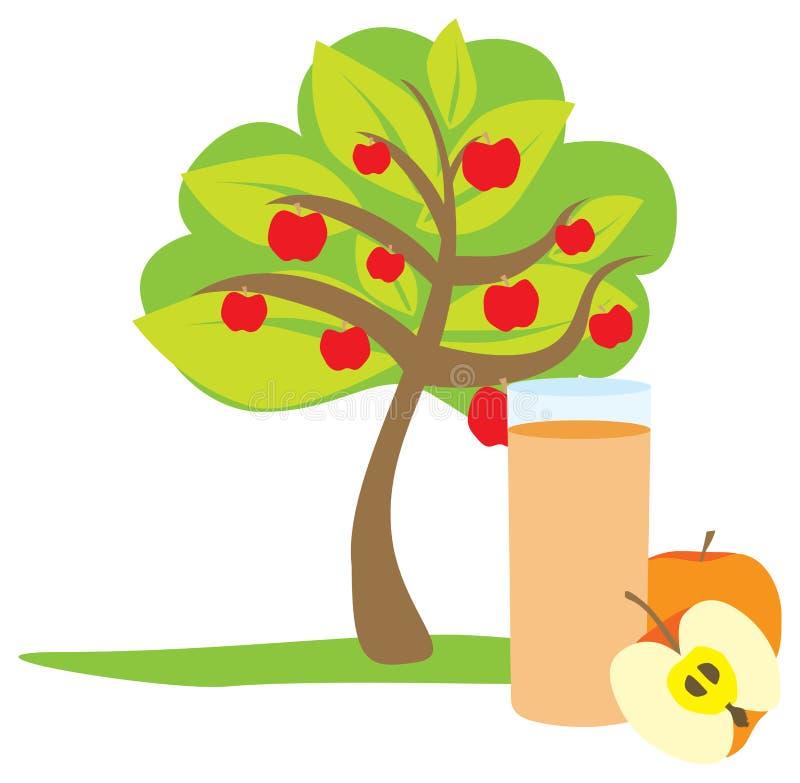 Exponeringsglaset av äppelmust och tre royaltyfri illustrationer