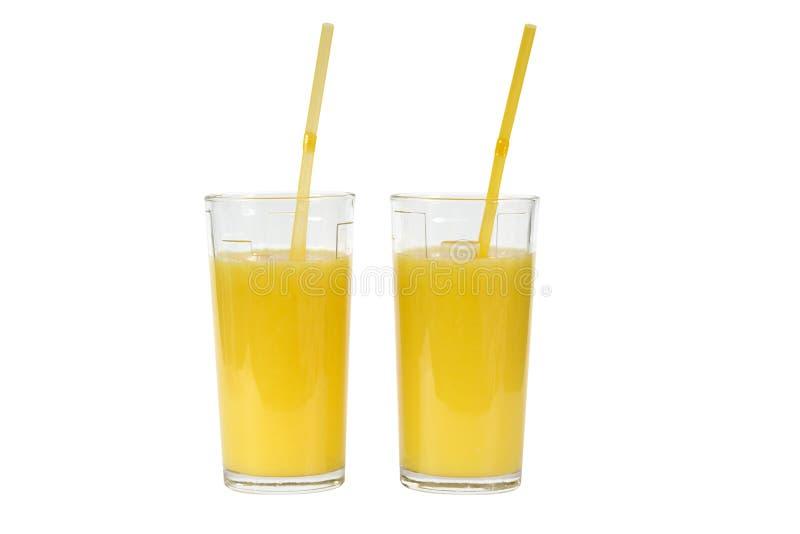 exponeringsglasfruktsaftorange två arkivfoto