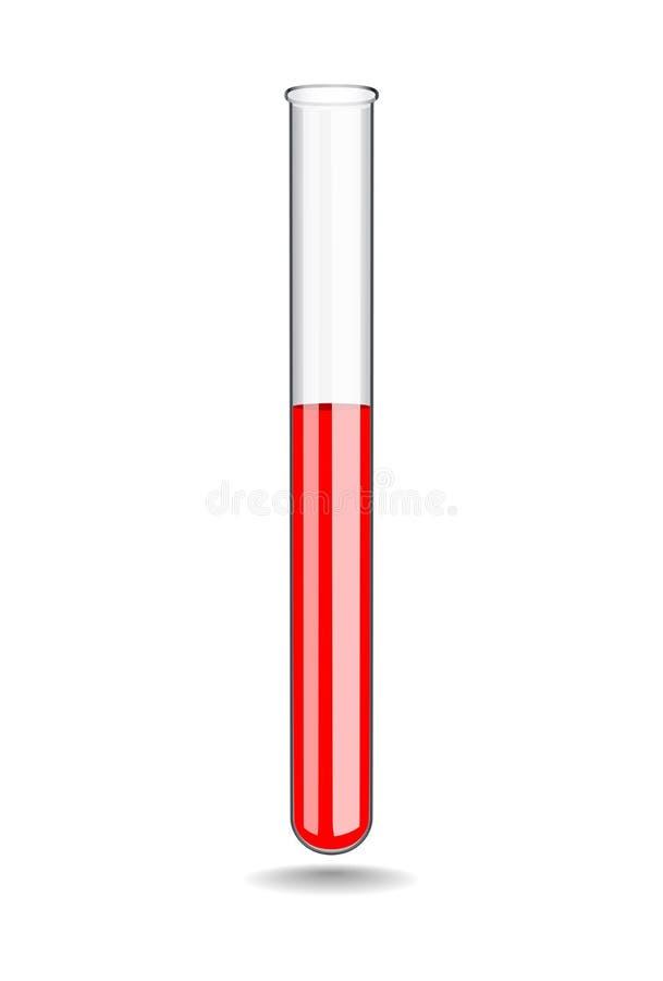 Exponeringsglaslaboratoriumprovrör med blod Laboratoriumprov i medicin f?r objektbana f?r bakgrund clipping isolerad white vektor stock illustrationer