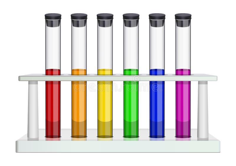 Exponeringsglaslaboratoriumprovrör med kork och mång--färgade flytande Provrör i en laboratoriumkugge Special disk för stock illustrationer