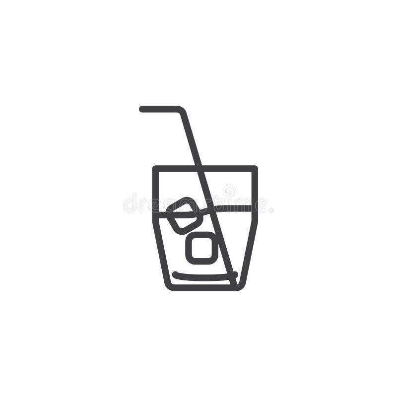 Exponeringsglaslinje symbol för med is te royaltyfri illustrationer