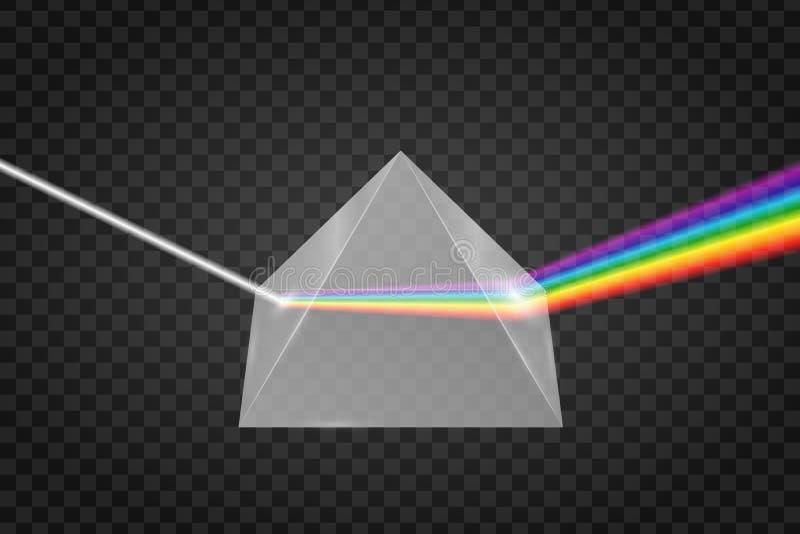 Exponeringsglaspyramidrefraktion av ljus stock illustrationer