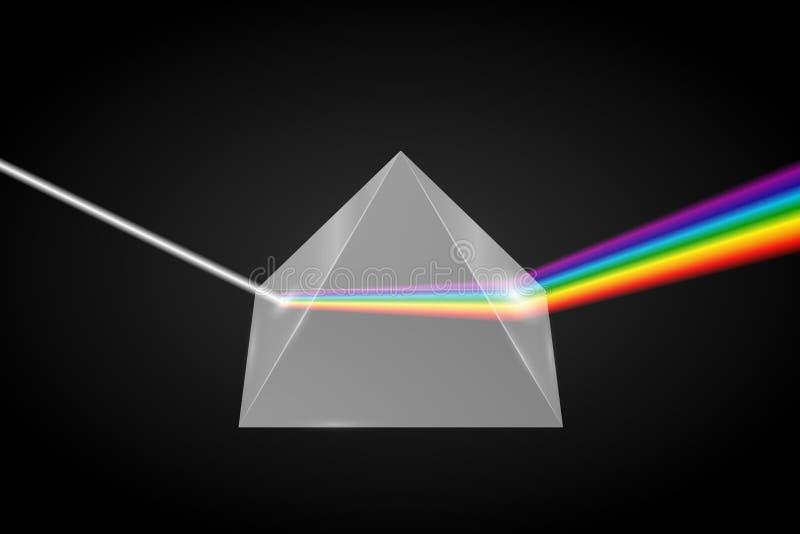 Exponeringsglaspyramidrefraktion av ljus vektor illustrationer