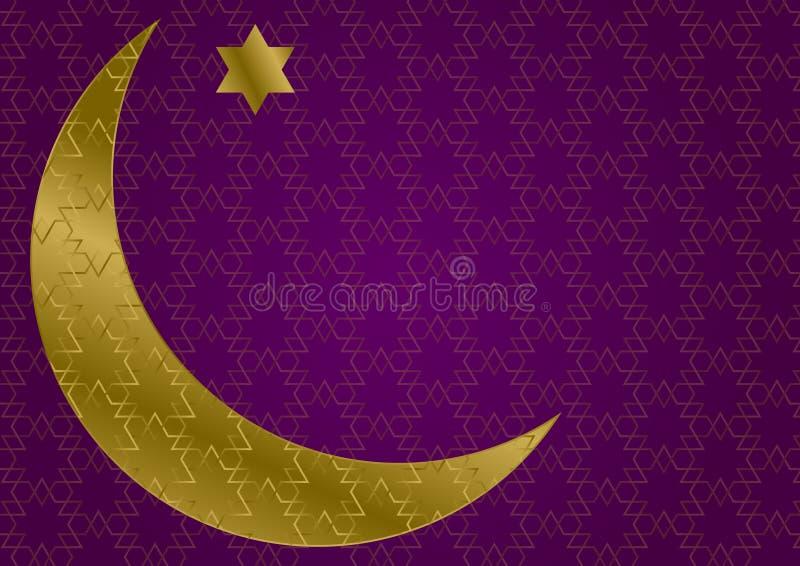 ExponeringsglasRamadanmåne på mörk purpurfärgad islamisk modellbakgrund royaltyfri illustrationer