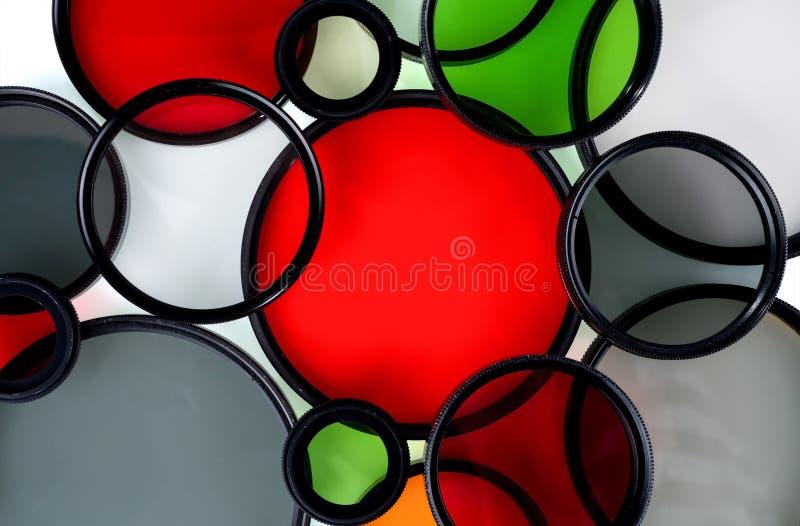 Exponeringsglasrundafilter av olika färger royaltyfri bild