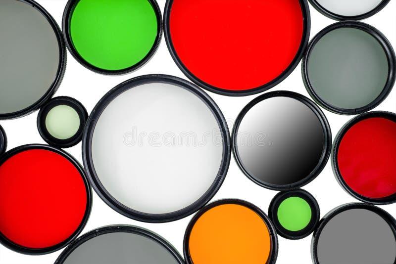 Exponeringsglasrundafilter av olika färger och format royaltyfri fotografi