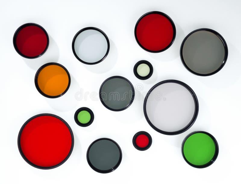 Exponeringsglasrundafilter av olika format arkivfoto