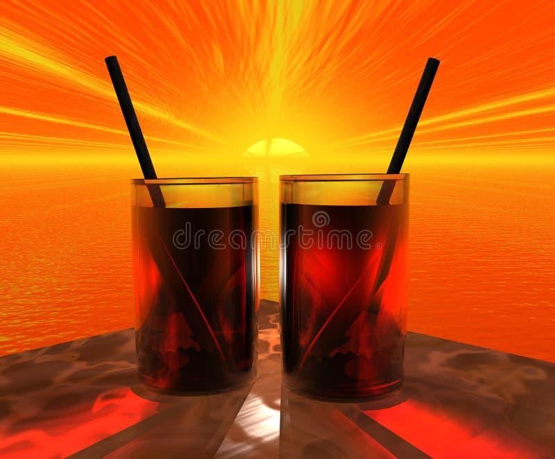 exponeringsglassolnedgång två stock illustrationer