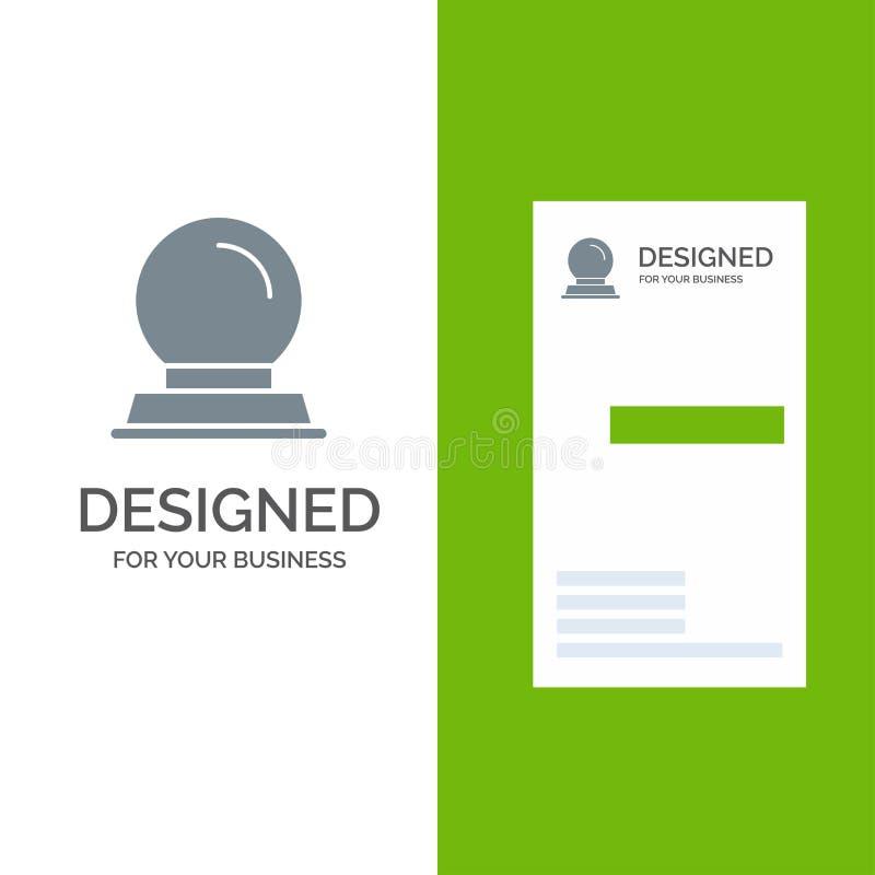 Exponeringsglasställning, garnering, magisk boll Grey Logo Design och mall för affärskort stock illustrationer