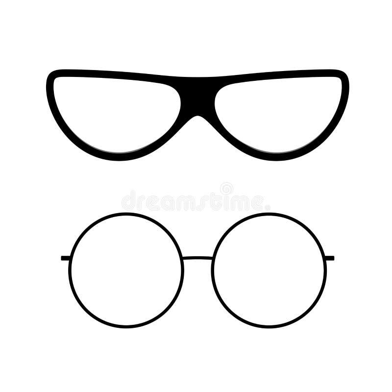 Exponeringsglassymbolsupps?ttning Kontursolglasögon isolerade vit bakgrund Modern kall grafisk design Svart plast- glasögon royaltyfri illustrationer