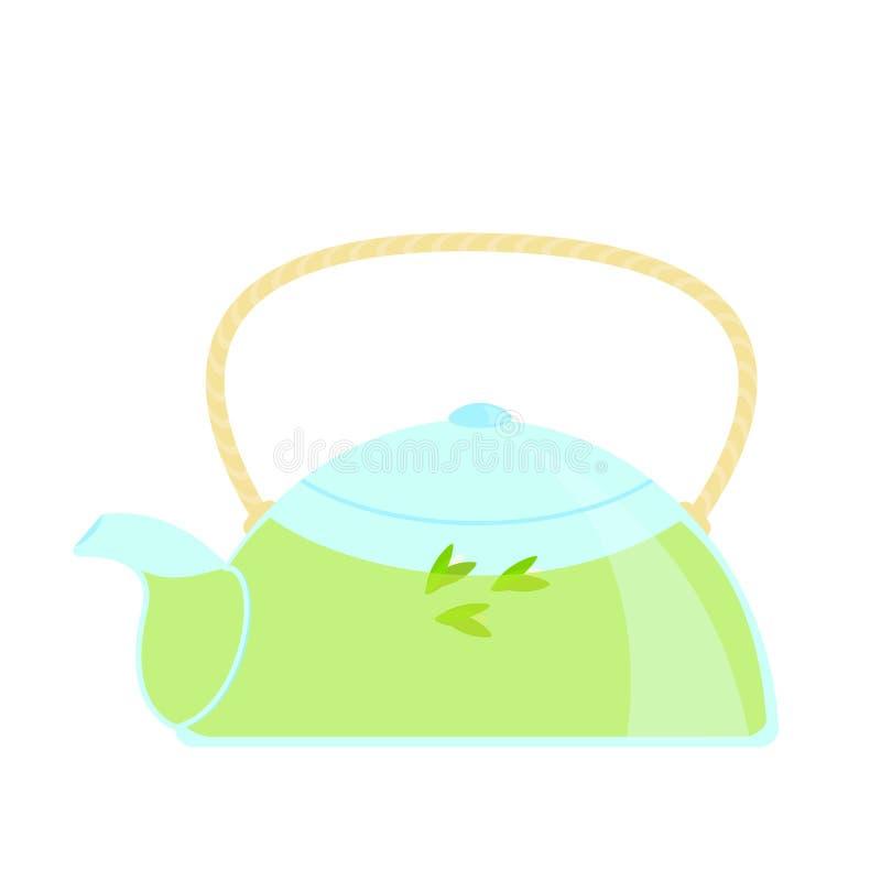 Exponeringsglastekanna med vektorn för grönt te som isoleras på vit bakgrund stock illustrationer