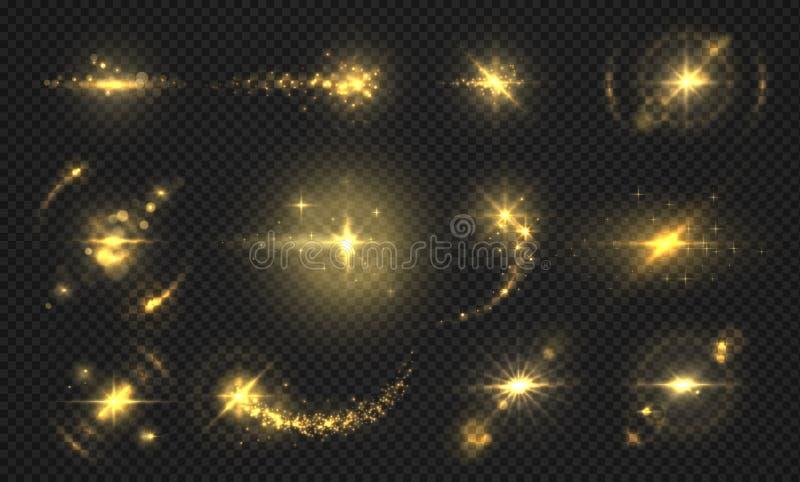 Exponeringsljus och gnistor Guld- blänka effekt, skinande genomskinliga partiklar och strålar, abstrakta signalljuseffekter vekto vektor illustrationer
