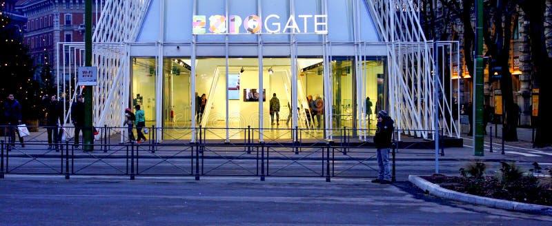 Expoport i Milano 2015, tillfällig struktur royaltyfri fotografi