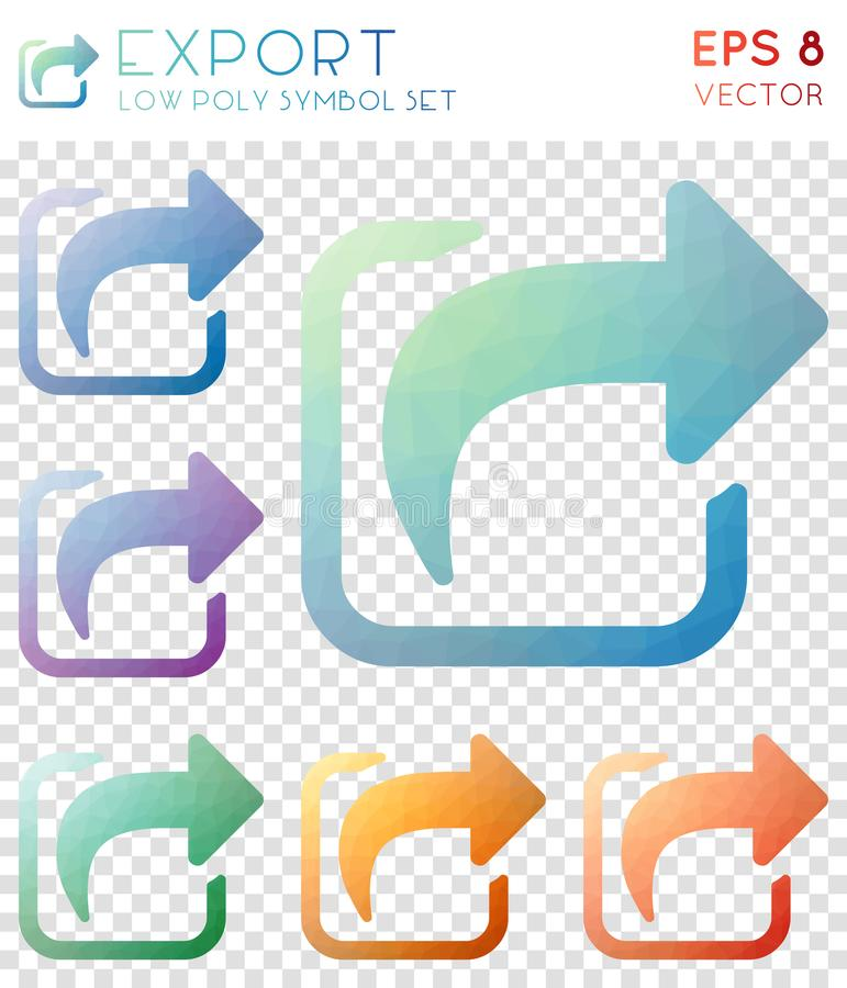 Export geometric polygonal icons. Artistic mosaic style symbol collection. Charming low poly style. Modern design. Export icons set for infographics or stock illustration