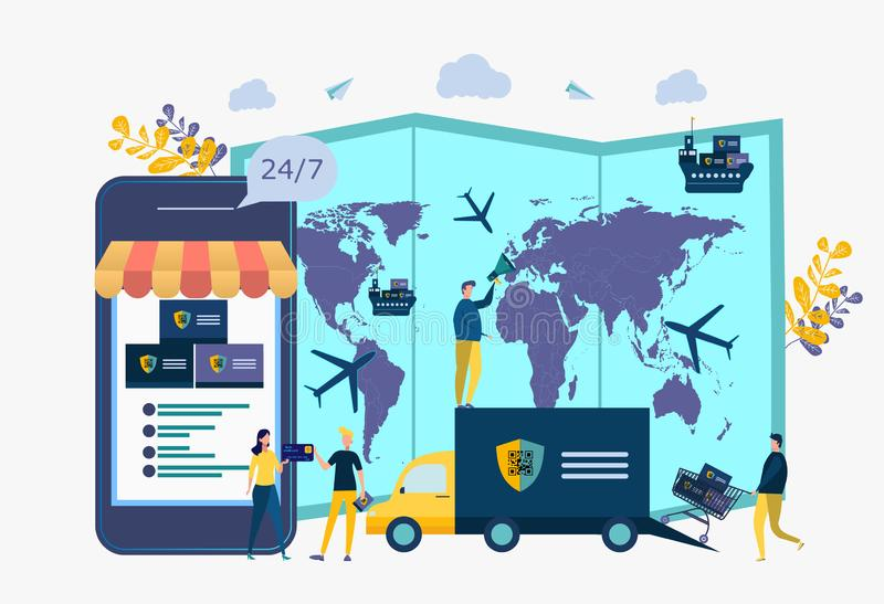 Export of goods, smuggling. Regulation of the embargo, sanctions on goods, limited import, export vector illustration