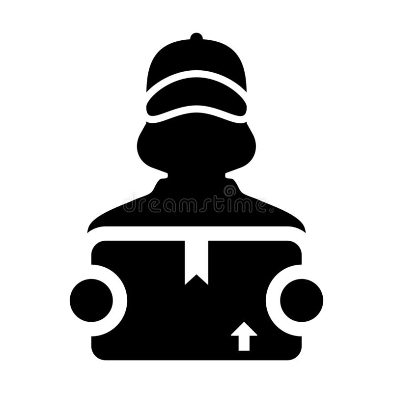 Export icon vector female logistics worker service person profile avatar with cargo package box for courier and delivery. In Glyph Pictogram Symbol illustration stock illustration
