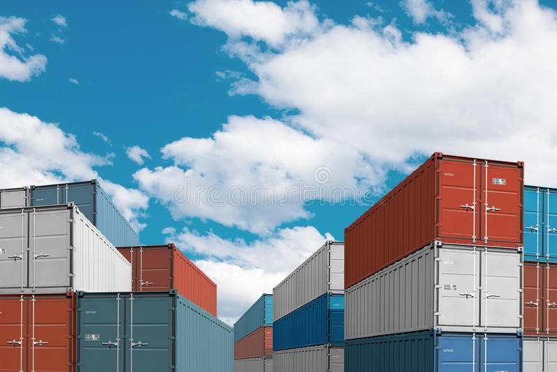 Export import cargo containers bulk in port or harbor 3d illustration. Export import cargo containers bulk in sea port or harbor 3d illustration stock image