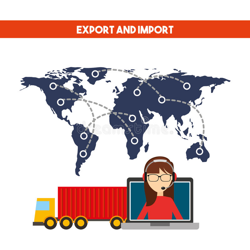 Export and import design. World map with cargo truck vehicle and support woman worker with headset. export and import colorful design. vector illustration vector illustration