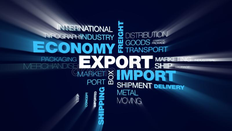 Export import economy freight global transportation logistics business cargo shipping commerce animated word cloud stock image