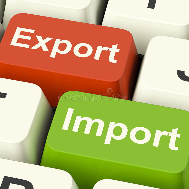 Export And Import Keys Showing International Trade Or Global Com stock photography