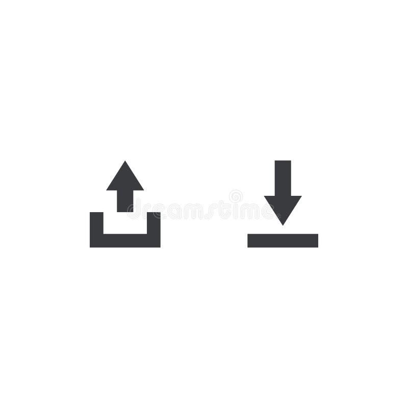 Export- och importmappsymboler Ladda upp, nedladda tecknet Aktiedokumentsymbol Manöverenhetsknapp Beståndsdel för mobil app för d stock illustrationer