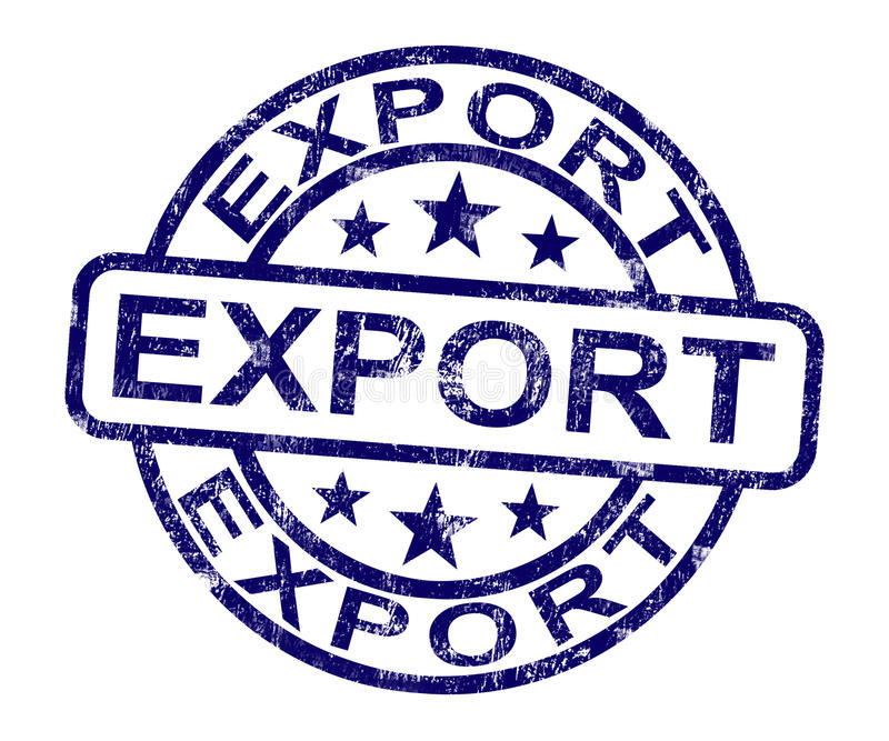 Export Stamp Showing Global Distribution. And Shipping royalty free illustration