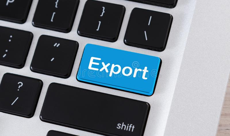 Export word on blue button of computer keyboard. Worldwide trade. Export word on blue button of computer keyboard royalty free stock images