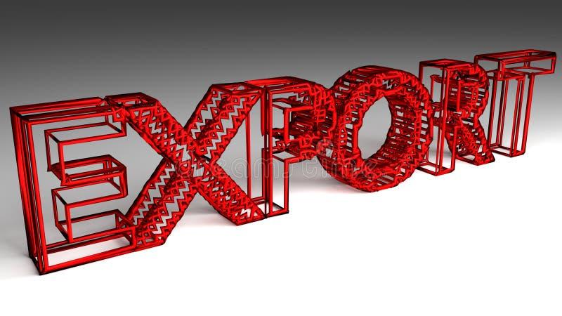 A exportação assina dentro letras vermelhas e lustrosas ilustração do vetor