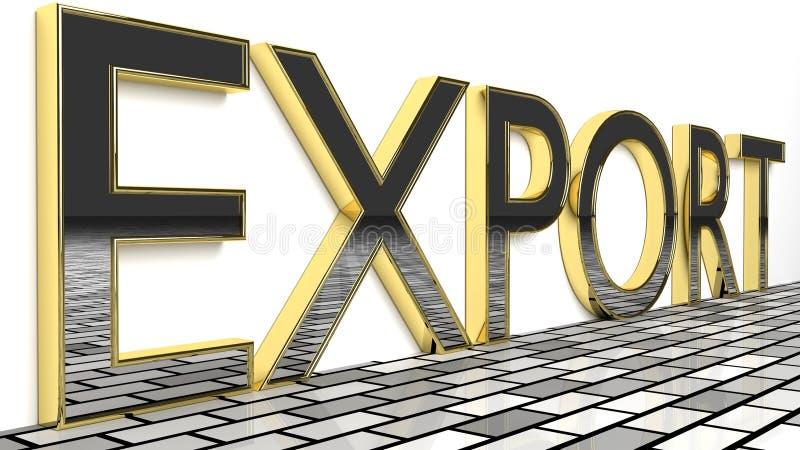 A exportação assina dentro o ouro e letras lustrosas ilustração do vetor