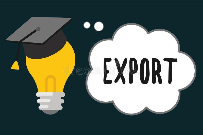 Exportação do texto da escrita O significado do conceito envia bens ou serviços a um outro país para a produção em massa da venda ilustração royalty free