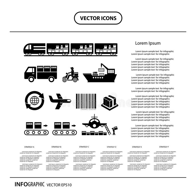 Exportação do transporte e da logística ilustração do vetor