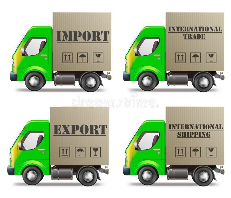 Exportação ou comércio internacional e entrega da importação ilustração stock