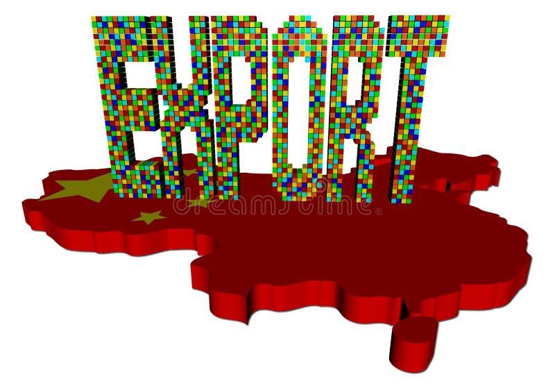 Exporte o texto feito dos recipientes na bandeira do mapa de China ilustração royalty free