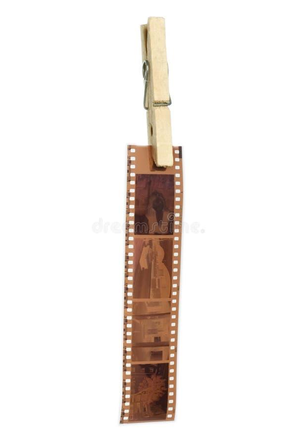 Exposed filmstrip hanging stock photos