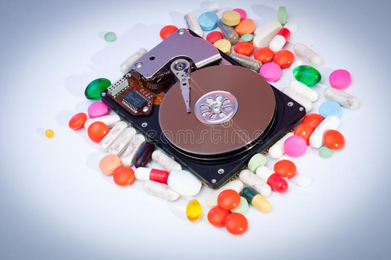An exposed hard drive royalty free stock photos
