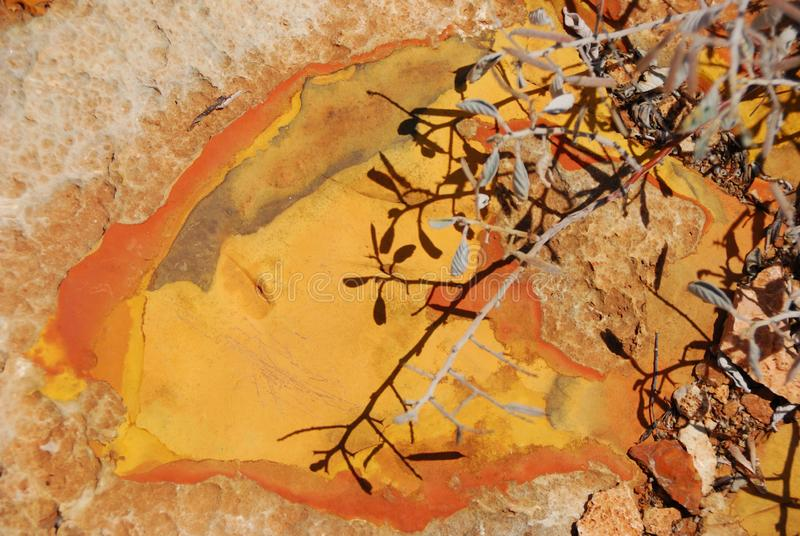 exposed ochre vivid coloured stone surface in sunlight royalty free stock photos