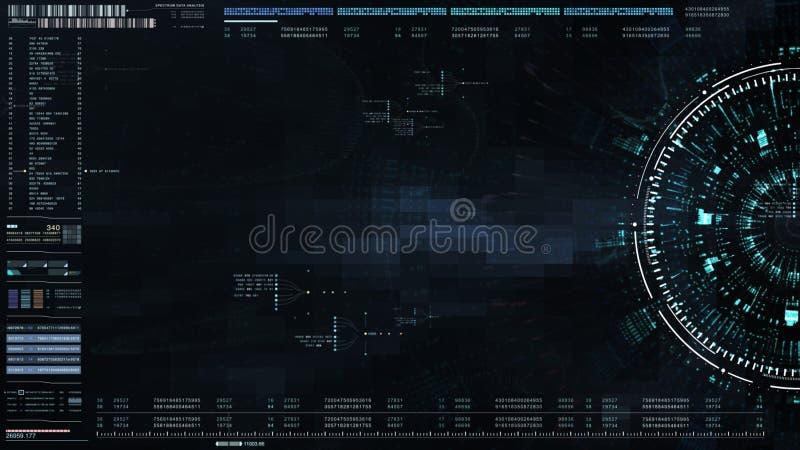 exposição ascendente da cabeça da interface de utilizador da Olá!-tecnologia com informação de dados digitais ilustração stock