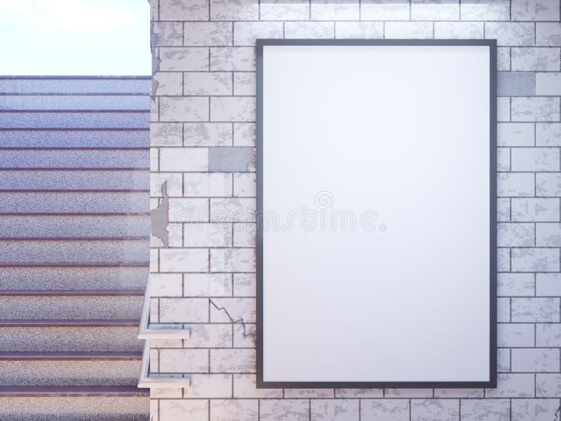 Exposição ascendente trocista dos anúncios do molde dos meios do cartaz na estação de metro ilustração 3D, rendendo ilustração do vetor