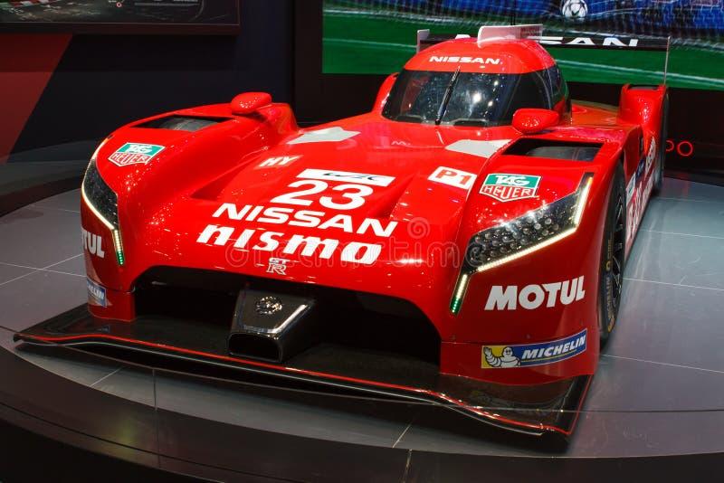Exposição automóvel 2015 de Nissan GT-R LM Nismo Genebra fotografia de stock