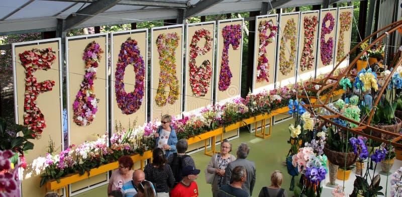 Exposição Beatrix Pavilion Keukenhof de Flower Power fotos de stock royalty free