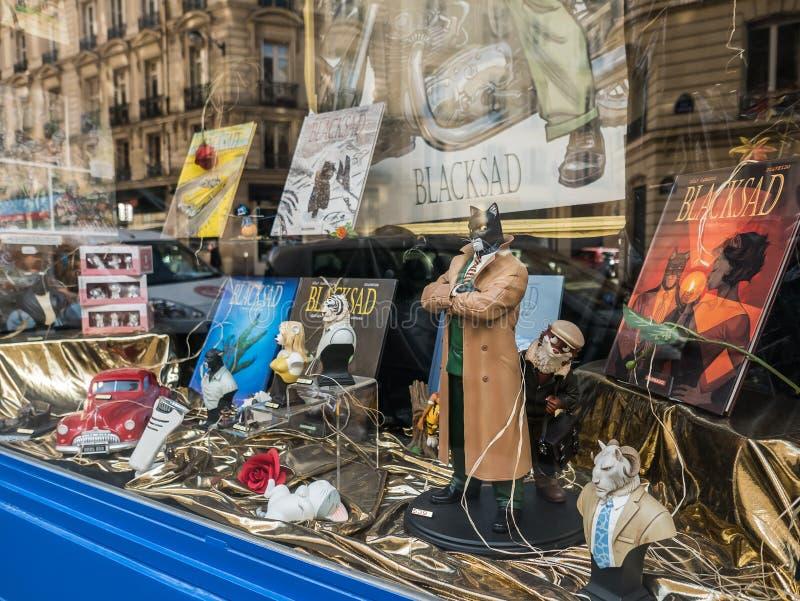 A exposição cômica da janela de Blacksad com livros e caráter figura, imagem de stock