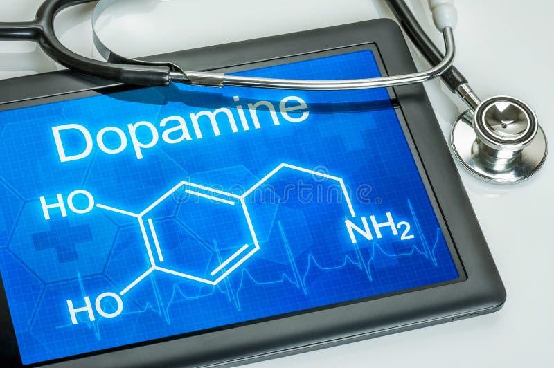 Exposição com a fórmula química da dopamina foto de stock royalty free